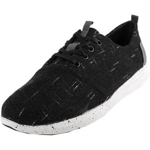 Toms Del Rey Black Dotted Wool Oxford